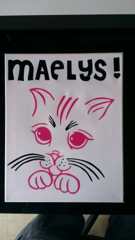toile sticker chat personnalisé 25euro