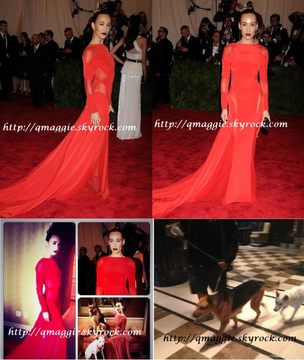 """06.05.13 : Maggie Q, habillée toute en rouge s'est présentée au """"2013 Met Gala At The Metropolitan Museum Of Art"""" à New York."""
