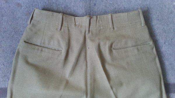 Trouser, wool, serge, O.D., light shade, spécial.
