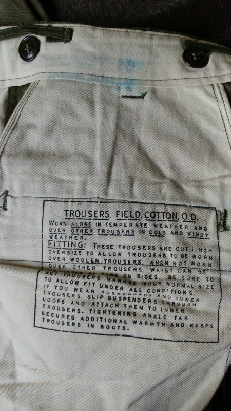 Trouser, field, cotton, O.D.