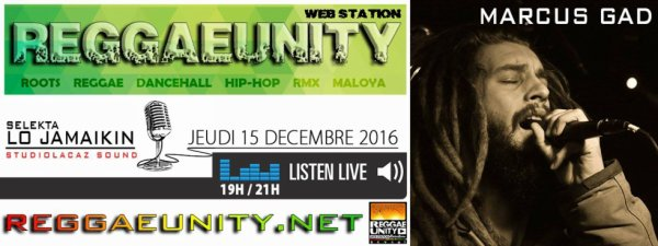 MARCUS GAD ON AIR sur REGGAE UNITY WEB STATION