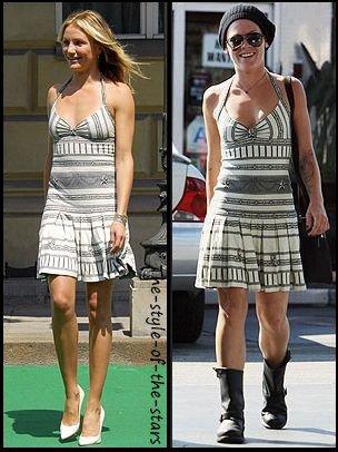 Qui la porte le mieux ? Robe à motifs blancs et gris.