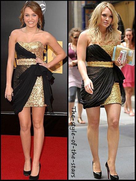Qui la porte le mieux ? Robe bustier dorée et volant noir.