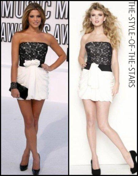 Qui la porte le mieux ? Robe bustier noire et blanche.