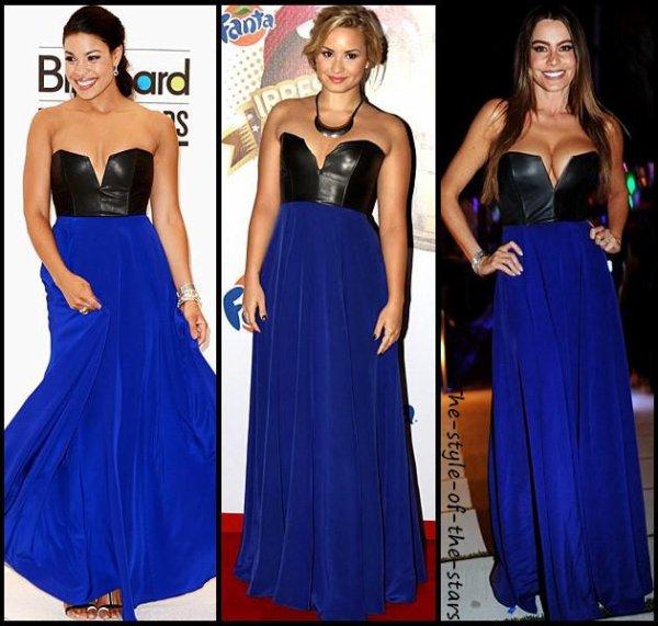Qui la porte le mieux ?  Robe longue bleue bustier.
