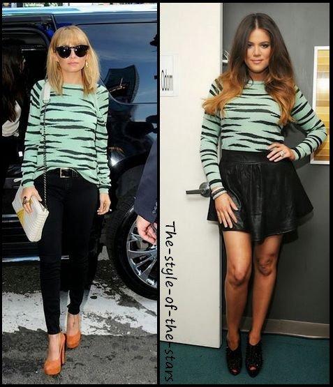 Qui le porte le mieux ? Pull vert pastel avec motifs noirs.