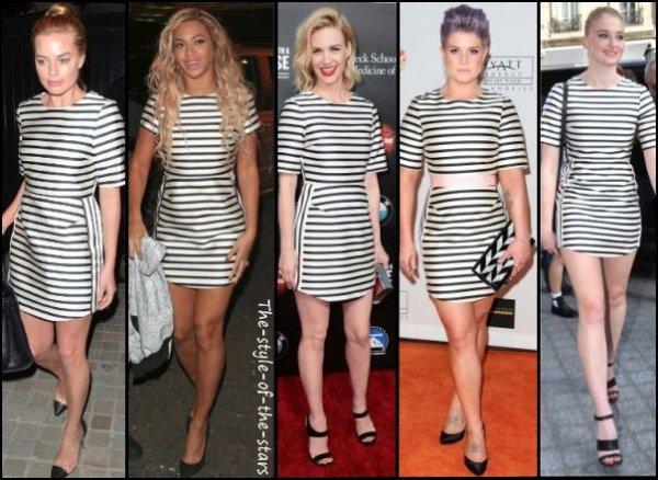 Qui la porte le mieux ? Robe rayée noire et blanche.
