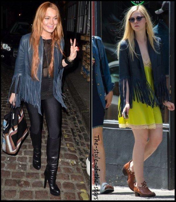 Qui le porte le mieux ? Blouson en cuir bleu à franges.