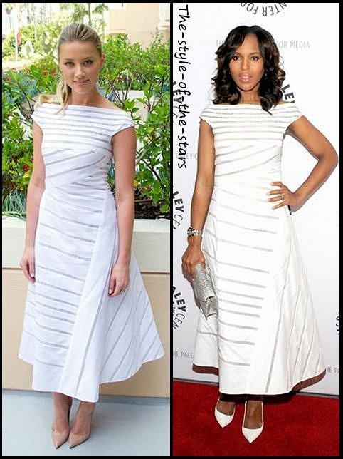 Qui la porte le mieux ? Robe longue asymétrique blanche.