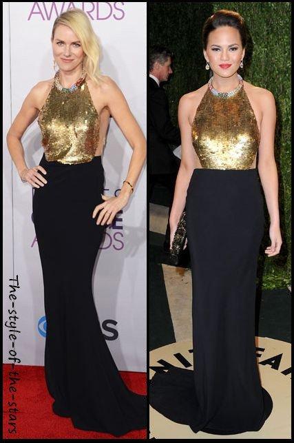 Qui la porte le mieux ? Robe longue noire et dorée.