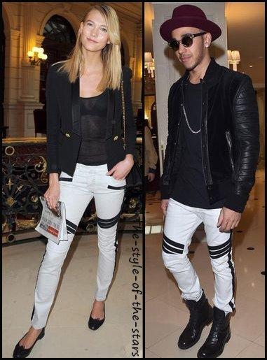 Qui le porte le mieux ? Pantalon blanc avec bandes noires.