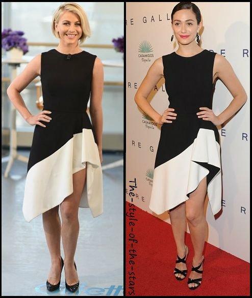 Qui la porte le mieux ? Robe asymétrique noire et blanche.