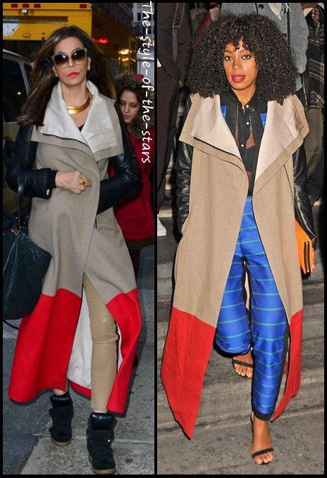 Qui le porte le mieux ? Manteau long bi-matière.
