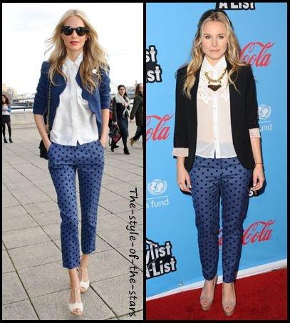 Qui le porte le mieux ? Pantalon bleu à pois.
