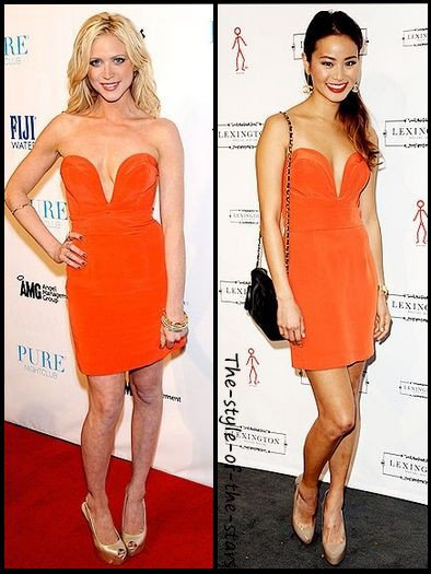 Qui la porte le mieux ? Robe bustier orange.