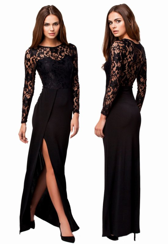 Black Thigh High Slit Long Sleeve Lace Maxi Dress