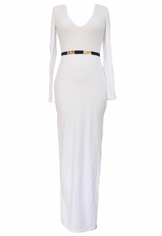 Blanc à manches longues Plongez Maxi robe avec fente