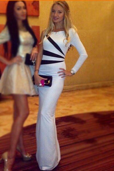Blanc Noir manches Side robe de soirée à rayures