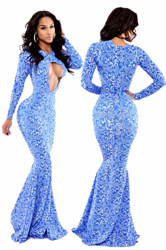 Blanc Paisley Blue Mermaid Maxi Dress