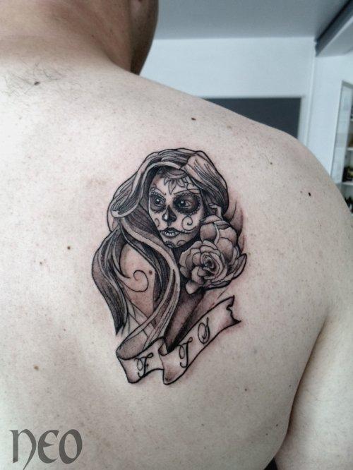Santa muerte sur l'omoplate  - Blog de Néo Castillo tattoo