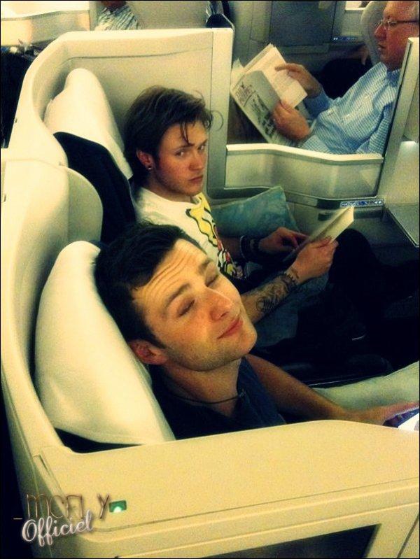 """17 Mai 2011 : Tom : """"Pudd ensemble au milieu ... ça fait comme un lit double. Harry semble très heureux. Dougie pas trop."""""""