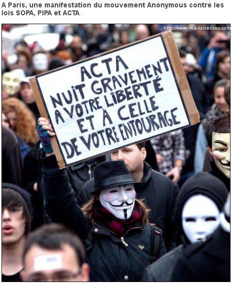 Mobilisation mondiale samedi contre le traité anticontrefaçon ACTA