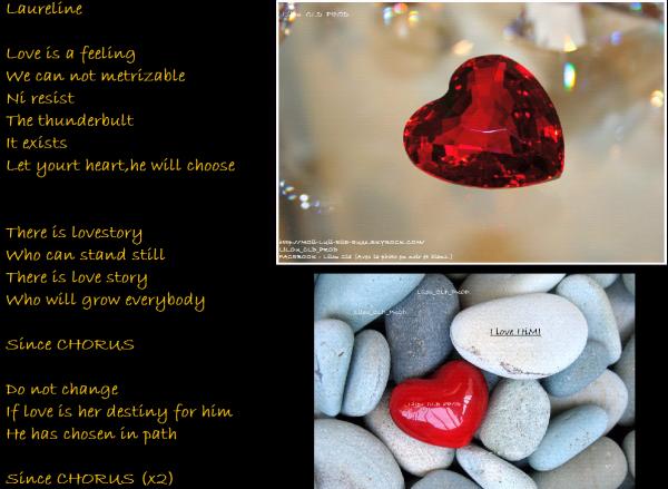 4éme chanson: Love is a feeling. De : Laureline.