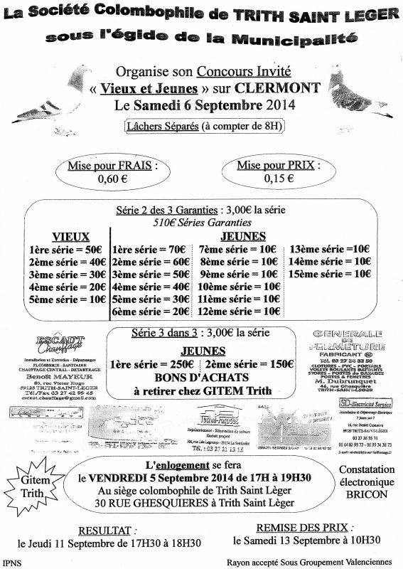 concours invité  ;société colombophile  de trith saint léger