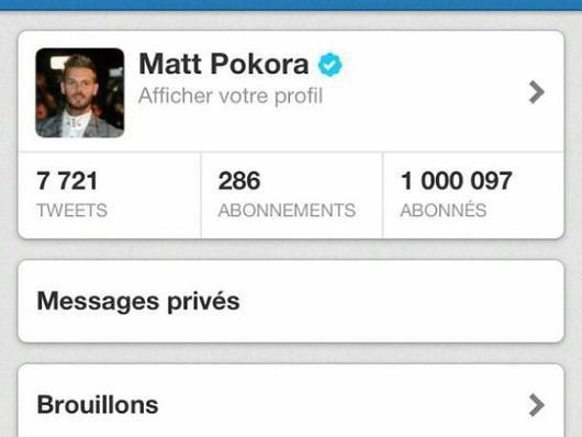 1 million de followers pour Matt !!! C'est Magnifique non ??
