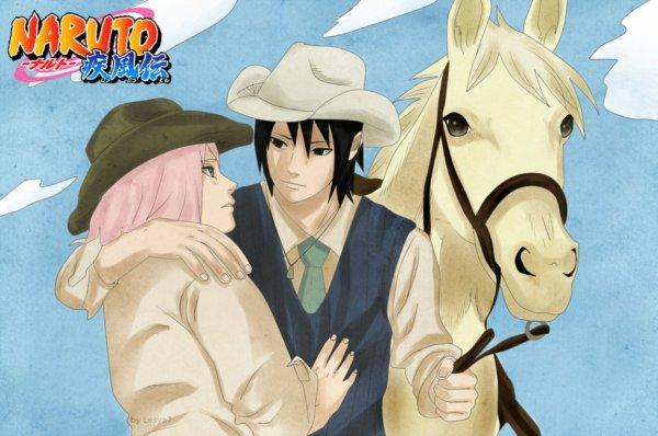 Sasusaku et leur cheval blanc