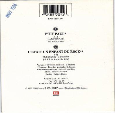 """Pochette arrière du single """" P'tit paul """" mars 1994"""