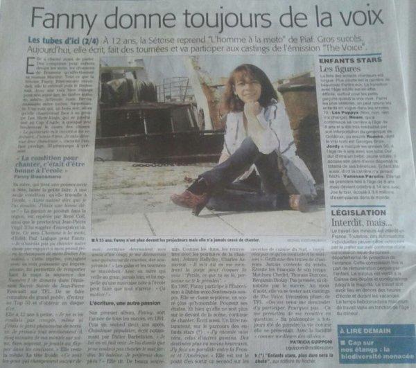 Fanny sur Midi Libre juillet 2013