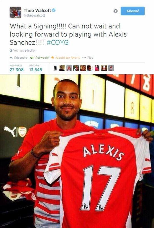 En tout cas Theo Walcott à l'air content de la signature de Sanchez !!