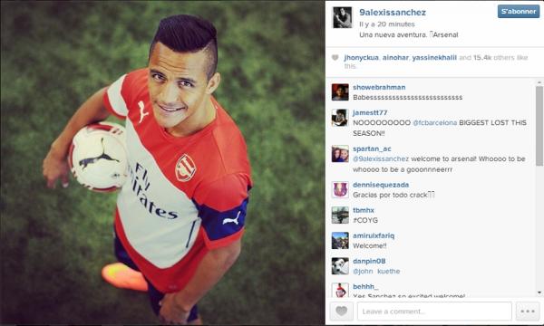 """Alexis Sanchez sur Instagram :   """" Une nouvelle aventure #Arsenal """""""