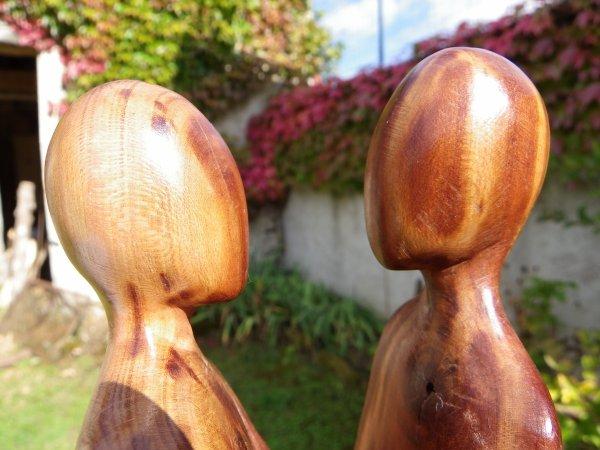 Couple mirabellier incrustation d'étain