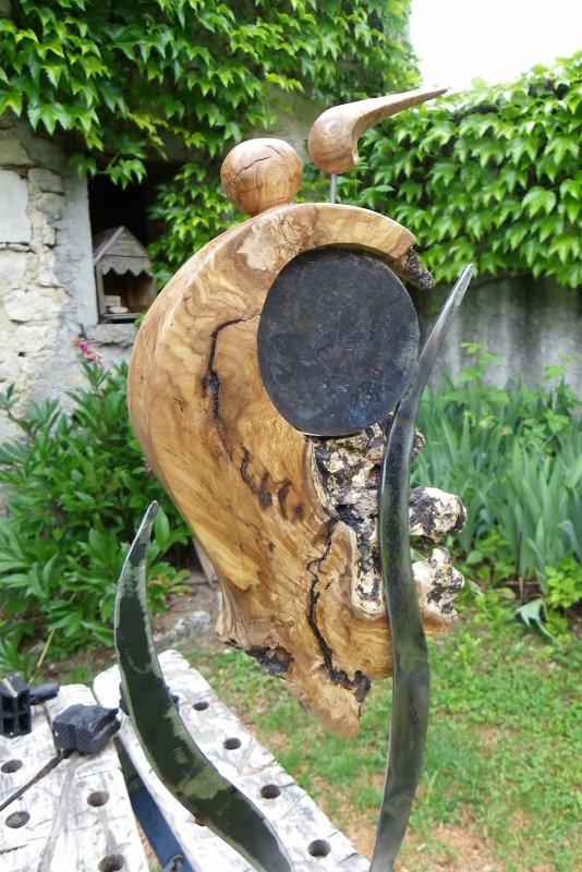 bois et fer ,racine d'olivier