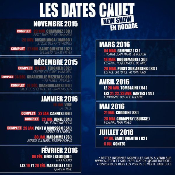 Les dates du one man show de Cauet