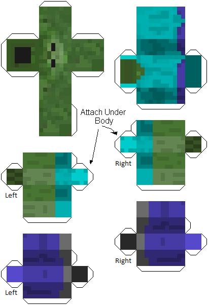 papercraft zombie de minecraft