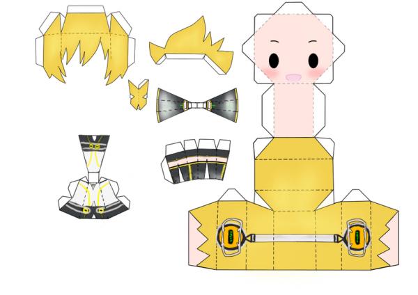 papercraft len kagamine de vocaloid