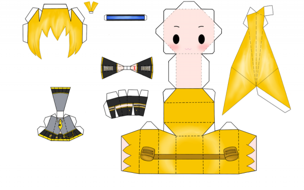 Papercraft Akita Neru de vocaloid
