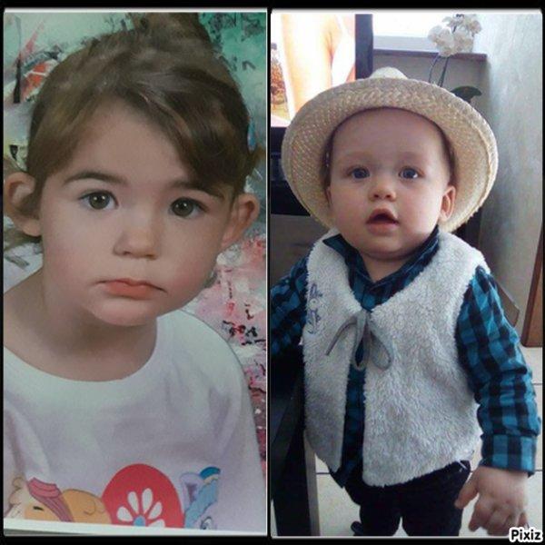 Ma nièce Louise et mon petit fils timeo