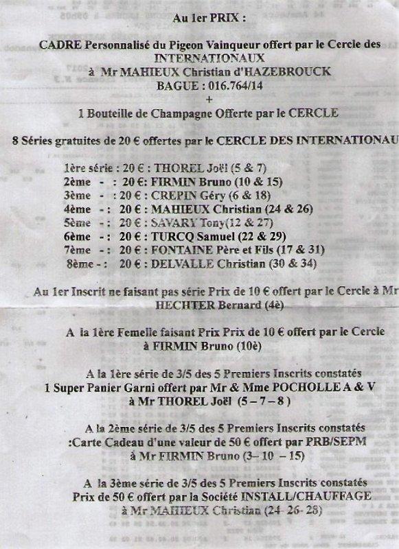 Rappel mise en loges Marseille 16h30: 153 pigeons soit+ 39.Laâcher 6h45