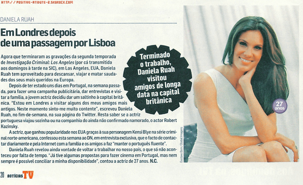 Articles Press Portugais TVGuiaNovelas & Noticias TV de Daniela Ruah pour Pantenne 2011