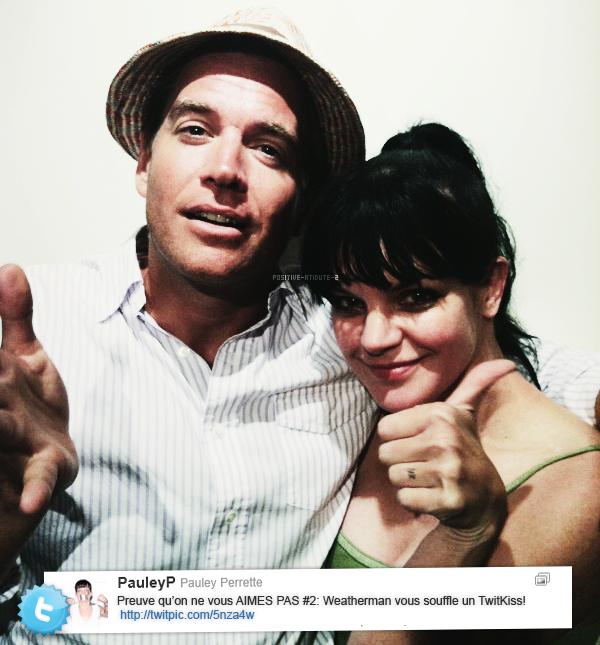Pauley Perrette à posté deux photos d'elle et de Michael Weatherly via twitter le jour de l'anniversaire de celui ci