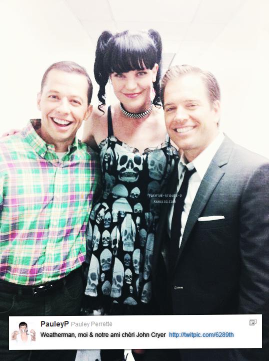 Pauley Perrette à posté une photo d'elle avec Michael Weatherly et John Cryer via son twitter