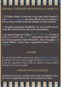 Nouveau crossover entre NCIS Los Angeles et Hawaii 5-0 + Spoilers Season 3 finale