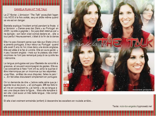 "-27.02.12- Après son apparition au ""KTLA5 Morning"" , Daniela Ruah était l'invitée de ""The Talk"""