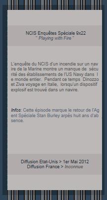 """NCIS Enquêtes Spèciale Episode 22 Saison 9 """" Playing with fire """""""