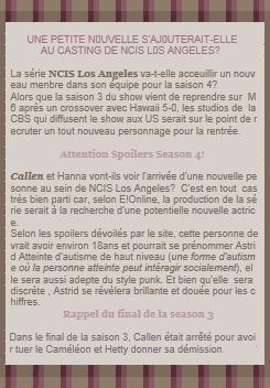 NCIS Los Angeles Season 4 ( SPOILER ) Un nouveau menbre pour l'équipe de NCIS de Los Angeles?