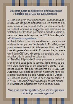 Nouveau spoiler concernant l'épisode 2 de la season 4 de NCIS Los Angeles